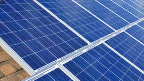 Polycrystalline solar panels installed on the roof