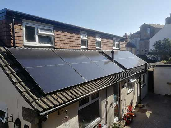 Typical solar panel install on a roof