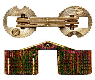 Top and side view of a barrel hinge