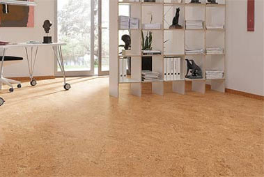 Modern cork tiled floor