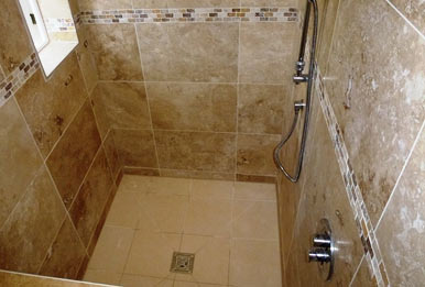 Wetroom tiled floor to ceiling