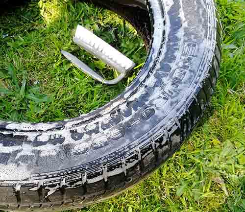 Clean old tyres thoroughly for use with tyre swings