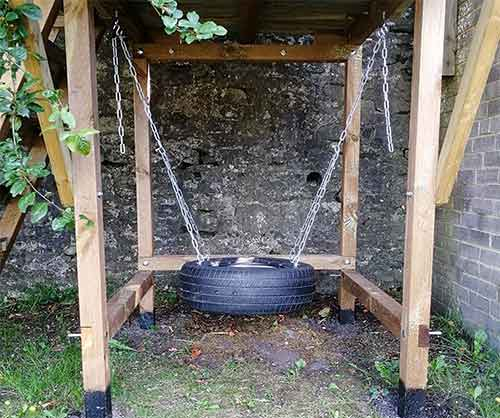 Horizontal tyre swing only swings back and forward