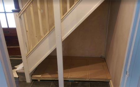 Base for under stairs drawers
