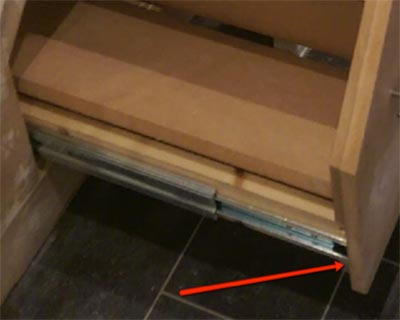 Drawer runner fixed in place on to drawer