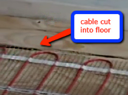 laying the power cable to the underfloor heating mat and chase into the  floor
