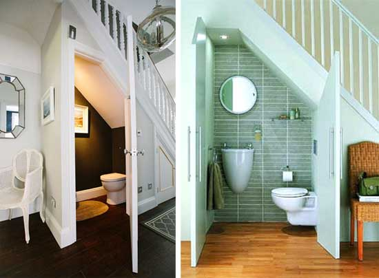 Cloakroom toilet installed under the stairs