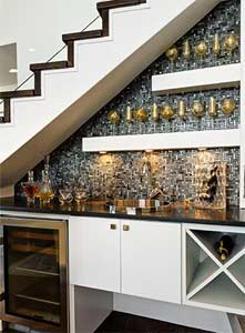 Wet bar installed in understairs area