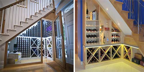 Wine racks and storage under the stairs