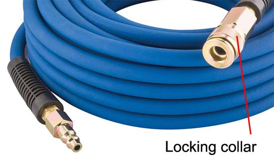 Male and female connections on air hose