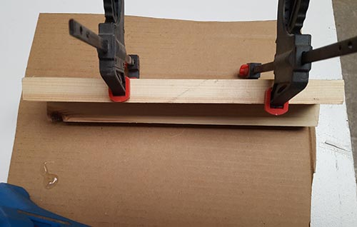 Timbers pressed together and clamped up