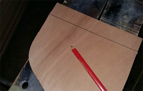 Cutting lines marked out for cutting with jigsaw