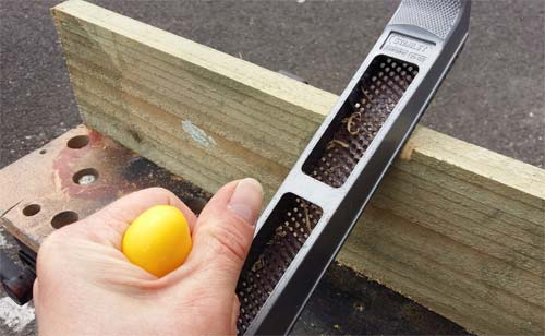 Shape cut in to timber using a rasp