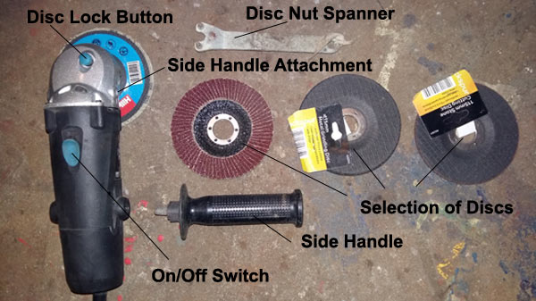 Different parts of and attachments for an angle grinder