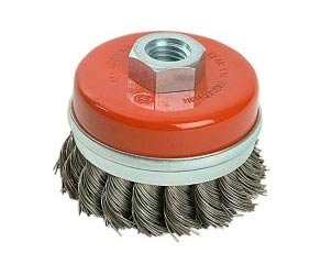Wire brush cups and twist knots for angle grinders
