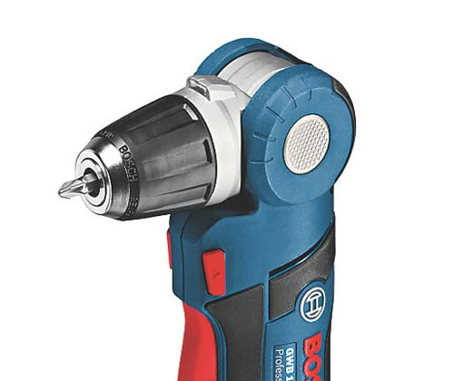 Adjustable drive head on  an angled drill