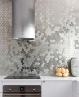 Metallic effect wall tiles