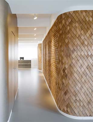 Wooden shingle wall
