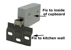 Wall brackets support the kitchen wall cupboard