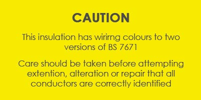 Caution notice for wire colours