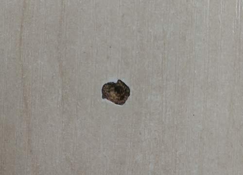 Impact damage to worktop